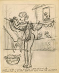 Original Comic Art:Miscellaneous, Girly Cartoon Preliminary Drawing Original Art (undated)....