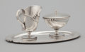 Silver Holloware, Mexican:Holloware, A MEXICAN SILVER CREAMER, COVERED SUGAR AND TRAY. Mexican, 20th century. Marks: M.R.M. HECHO EN MEXICO DF (circling) 9... (Total: 3 Items Items)