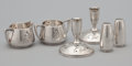 Silver Holloware, American:Creamers and Sugars, AN AMERICAN SILVER CREAMER, SUGAR, SALT AND PEPPER SHAKER, PAIR OF CANDLESTICKS . Gorham Manufacturing Co., Providence, Rhod... (Total: 6 Items)