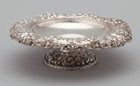 AN AMERICAN SILVER FOOTED COMPOTE Dominick & Haff, New York, New York, circa 1887 Marks: rectangle (925)-circle