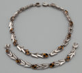 Silver Smalls:Other , A MEXICAN SILVER AND STONE NECKLACE AND BRACELET. Mexico, 20thcentury. Marks: TD-04, MEXICO, 980. 16 inches long (40.6 ...(Total: 2 Items Items)