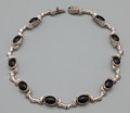 Silver Smalls:Other , A MEXICAN SILVER AND BLACK STONE NECKLACE . Mexico, 20th century.Marks: 925, TS-95, MEXICO. 17 inches long (43.2 cm). 1...