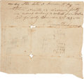 "Autographs:Military Figures, Almeron Dickinson Document Signed. One page, 7.5"" x 6.75"", Gonzales, Texas, December 27, 1835. Only two months before the th..."