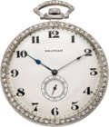 Timepieces:Pocket (post 1900), Waltham Platinum & Diamond Opera Watch, circa 1920. ...