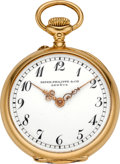 Timepieces:Pocket (post 1900), Patek Philippe & Co. Miniature Gold Pocket Watch, circa 1910....