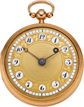 Timepieces:Pocket (pre 1900) , Swiss Gold & Enamel Verge Fusee, circa 1800. ...