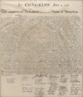 """Autographs:Statesmen, William J. Stone for Peter Force: The Declaration of Independence.One page, 24.5"""" x 29"""" (sight), originally folded and plac..."""