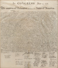 "William J. Stone for Peter Force: The Declaration of Independence. One page, 24.5"" x 29"" (sight), originally f..."