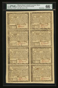 Colonial Notes:Rhode Island, Rhode Island July 2, 1780 Half Sheet of Eight PMG Gem Uncirculated66 EPQ.. ...
