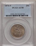 Seated Quarters: , 1876-S 25C AU58 PCGS. PCGS Population (26/203). NGC Census:(34/186). Mintage: 8,596,000. Numismedia Wsl. Price for problem...