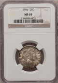 Barber Quarters: , 1906 25C MS65 NGC. NGC Census: (26/7). PCGS Population (48/16).Mintage: 3,656,435. Numismedia Wsl. Price for problem free ...