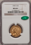 Indian Half Eagles, 1909-D $5 MS64+ NGC. CAC....