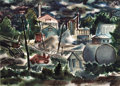 Texas:Early Texas Art - Modernists, JESSE JAY MCVICKER (American, 1911-2004). Industrial View # 2, 1947. Watercolor on paper. 21 x 29 inches (53.3 x 73.7 cm...