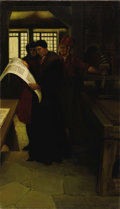 Illustration:Books, Ascribed to HOWARD PYLE (American 1853-1911). Gutenberg at thePress, 1902 . Oil on canvas . 34-3/4 x 20in. . Signed low...