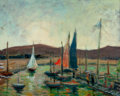 Texas, HARRY P. CARNOHAN (American, 1904-1969). Sailboats at Dana'sLanding. Oil on panel. 16 x 20 inches (40.6 x 50.8 cm). Sig...