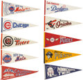 Baseball Collectibles:Others, 1960's and 1970's Major League Baseball Pennants Lot of 10....