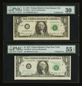 Fr. 1909-B* $1 1977 Federal Reserve Note. PMG About Uncirculated 55 EPQ. & Fr. 1909-J* $1 1977 Federal Reserve Note...