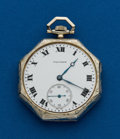 Timepieces:Pocket (post 1900), Waltham, 14k, White Gold 12 Size. ...