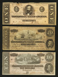 Confederate Notes:Group Lots, Group of Three 1864 Confederate Notes $1, $10, & $20Fine-Extremely Fine. ...
