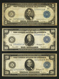 Large Size:Group Lots, Group of three 1914 FRNs Fine and better.. ... (Total: 3 notes)
