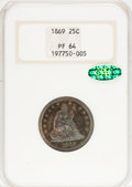 Proof Seated Quarters, 1869 25C PR64 NGC. CAC....