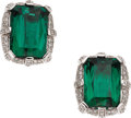 Estate Jewelry:Earrings, Tourmaline, Diamond, White Gold Earrings. ... (Total: 2 Items)