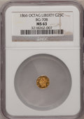 California Fractional Gold: , 1866 25C Liberty Octagonal 25 Cents, BG-708, High R.4, MS63 NGC.NGC Census: (3/7). PCGS Population (8/28). (#10535)...