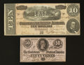 Confederate Notes:1864 Issues, $10 and 50 Cents 1864 Notes.. ... (Total: 2 notes)