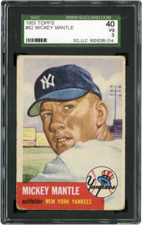 1953 Topps Mickey Mantle #82 SGC 40 VG 3