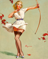 GIL ELVGREN (American, 1914-1980) Aiming High (Will William Tell?), 1959 Oil on canvas 30 x 24 in