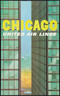 """Stan Galli United Airlines Chicago Advertising Poster (United Airlines, 1950s). Poster (25"""" X 40""""). Miscellane..."""