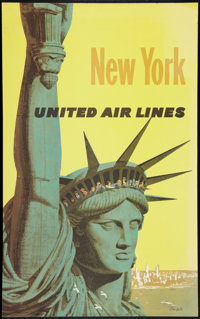 "Stan Galli United Airlines New York Travel Advertising Poster (United Airlines, Early 1960s). Poster (25"" X 40""..."