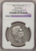 Coins of Hawaii: , 1883 $1 Hawaii Dollar--Improperly Cleaned--NGC Details. XF. NGC Census: (40/210). PCGS Population (110/365). Mintage: 500,0...