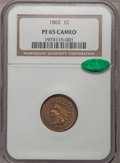 Proof Indian Cents, 1862 1C PR65 Cameo NGC. CAC....