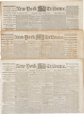 Miscellaneous:Newspaper, New York Tribunes (Three) with Content on Texas during theCivil War. All are dated 1864. Specifically dated Februar...(Total: 3 Items)