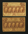 Fractional Currency:First Issue, 25¢ First Issue Fractionals Very Good or Better.. ... (Total: 2 notes)