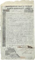 "Autographs:Statesmen, Galveston Bay & Texas Land Company Stock. One page, 8"" x 13.5"",October 16, 1830, New York, for ""177 136/1000 Acres"" (on..."