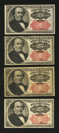 Fractional Currency:Fifth Issue, Fr. 1309 25¢ Fifth Issue Four Examples.. ... (Total: 4 notes)