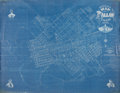"Miscellaneous:Maps, Map: ""Official Map of Dallas, Texas, 1875."" On blue oilcloth, 70"" x 55"", delineating the streets, railways, and..."