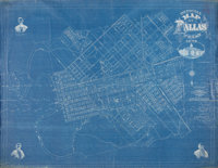 """Map: """"Official Map of Dallas, Texas, 1875."""" On blue oil cloth, 70"""" x 55"""", delineatin"""