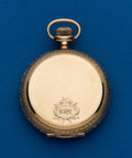 Timepieces:Pocket (post 1900), Elgin 12 Size 14k Gold Hunters Case With Fancy Dial. ...