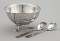 Silver Holloware, American:Bowls, AN AMERICAN SILVER SALAD BOWL AND SERVING SET. Eivind Borsum,Chicago, Illinois, circa 1930. Marks: E. BORSUM STERLING.... (Total: 3 Items)