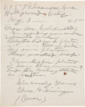 "Autographs:Authors, Charles A. Siringo Autograph Letter Signed. Two lined pages writtenin pencil, 8"" x 10"", August 3, 1925, Hollywood, Californ..."