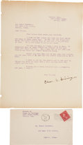 """Autographs:Authors, Charles A. Siringo Typed Letter Signed """"Chas. A. Siringo""""with cover. One page, 8.5"""" x 11"""", December 15, 1927, Venice, C..."""