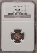 Seated Half Dimes: , 1858-O H10C MS64 NGC. NGC Census: (57/23). PCGS Population (45/14).Mintage: 1,660,000. Numismedia Wsl. Price for problem f...