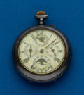 Timepieces:Pocket (post 1900), Swiss, Moon Face Calendar Parts Watch. ...