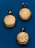 Timepieces:Pocket (post 1900), Three - 6 Size, Gold Filled Hunter Cases, Elgin, N.Y. Standard,Seth Thomas Edgemere. ... (Total: 3 Items)