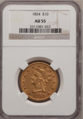 Liberty Eagles: , 1854 $10 AU55 NGC. NGC Census: (53/65). PCGS Population (16/16).Mintage: 54,250. Numismedia Wsl. Price for problem free NG...