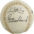 Autographs:Baseballs, 1980s New York Yankees Old Timers' Day Multi-Signed Baseball. Thistrio of signatures was applied at a New York Yankees Old...