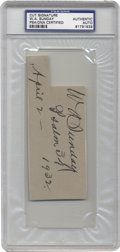 """Autographs:Letters, W. A. """"Billy"""" Sunday Signature . Signed to a professional baseballcontract in 1883 by A.G. Spalding, the speedy outfielder..."""